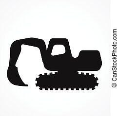 excavator digger silhouette simplified vector