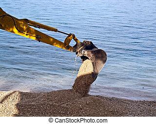 Excavator digging - Image shows excavator digging on the ...