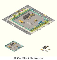 Excavator digs a pit on the construction site isometric icon set