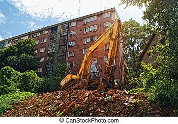 Excavator - EXcavator machine on construcion site during ...