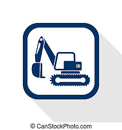 excavator flat icon - square blue icon excavator with long...