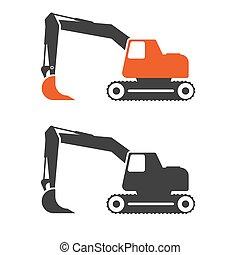 Excavator flat vector illustration.