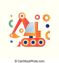 Excavator, heavy industrial construction machinery vector Illustration on a white background