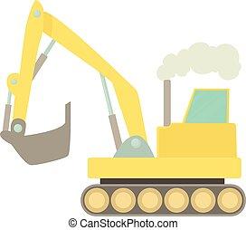 Excavator icon, cartoon style