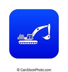 Excavator icon digital blue