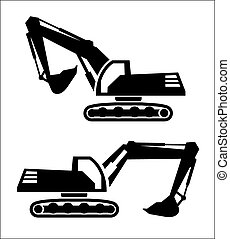 excavator icon - excavator two black icons on white ...