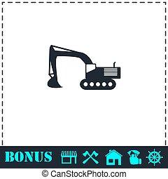 Excavator icon flat