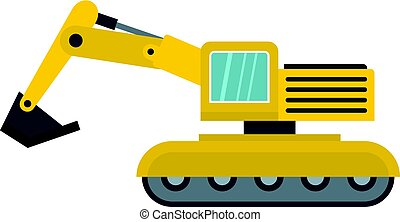 Excavator icon isolated