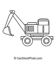Excavator icon, outline style