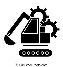excavator  icon, vector illustration, sign on isolated background