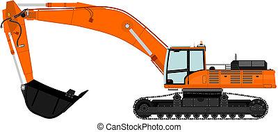 Excavator - Illustration of heavy excavator. Vector