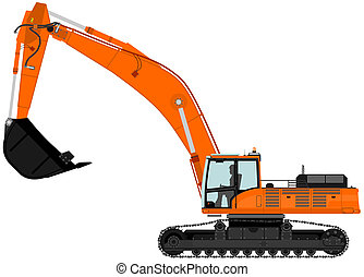 Excavator - Illustration of heavy excavator. Vector