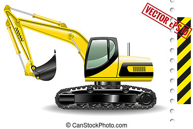excavator - Vector illustration of excavator isolated on...