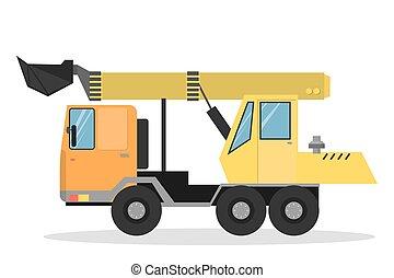 excavator., isolado, amarela