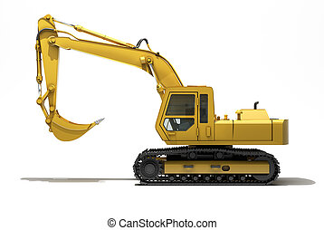 Excavator isolated - Excavator on a white background, with...