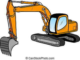 excavator isolated on the white