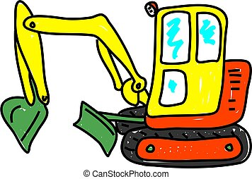 excavator isolated on white drawn in toddler art style