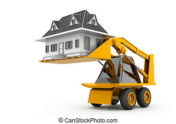 Excavator lift the home