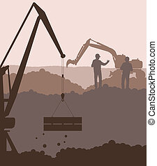 Excavator loader and crane at construction site vector