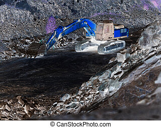 Excavator loader at construction site with raised bucket