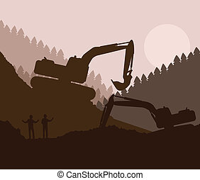 Excavator loader at construction site with raised bucket ...