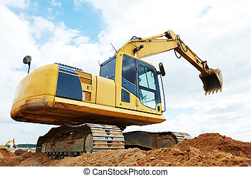 excavator loader at earthmoving works