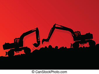 Excavator loader hydraulic machine tractor and workers digging at industrial construction site vector background illustration