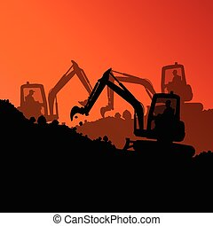 Excavator loader hydraulic machine tractors and workers ...