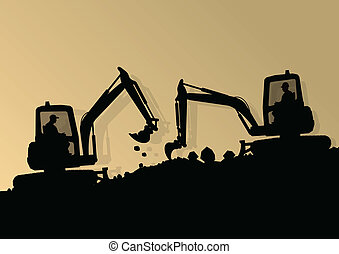Excavator loader hydraulic machine tractor and workers...