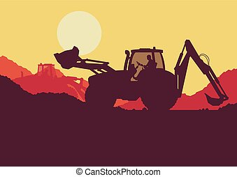 Excavator loader tractor digging ground earth industrial construction site vector background