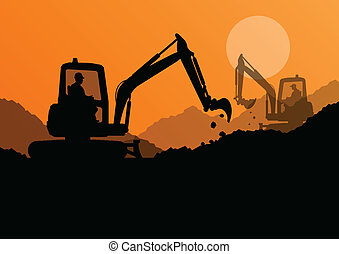 Excavator loaders and workers digging at construction site ...