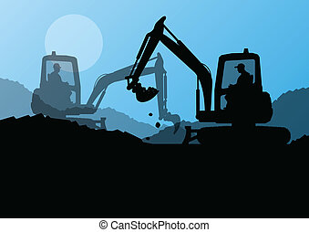 Excavator loaders and workers digging at construction site...
