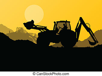 Excavator loaders, hydraulic pile drilling machines, tractors and workers digging at industrial construction site vector background illustration