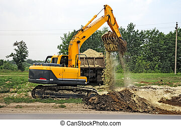 Excavator loads the earth in a dumper