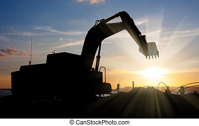 excavator machine doing earthmoving - track-type loader...