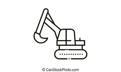 Excavator Machine Icon Animation. black Excavator Machine animated icon on white background