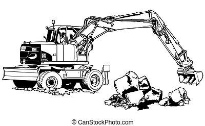 Excavator Machine in Work - Black and White Illustration, Vector
