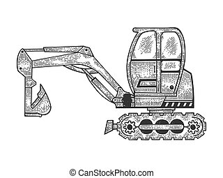 Excavator machine sketch engraving vector illustration. Scratch board style imitation. Black and white hand drawn image.