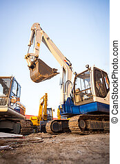 Excavator machines on the construction site