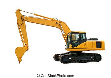 Excavator - New yellow excavator isolated over white