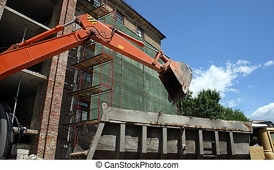 work place - excavator on building work place