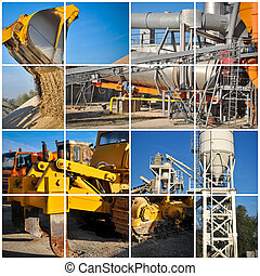 Excavator on construction site collage image