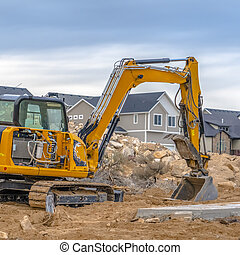 Excavator on construction site in Eagle Mountain