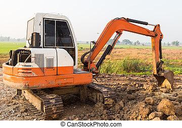 excavator on new construction site