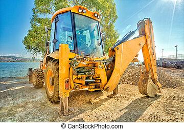 Excavator on the road