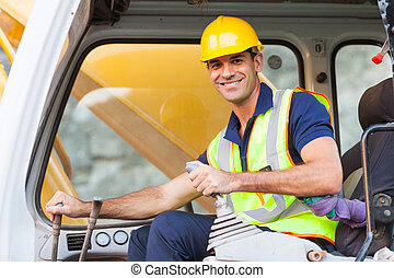 excavator operator - cheerful excavator operator on...