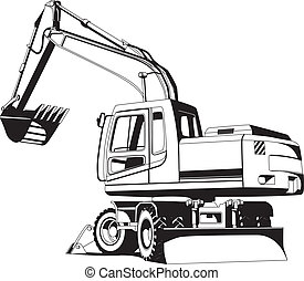 Excavator outline - Detailed vectorial bw image of excavator