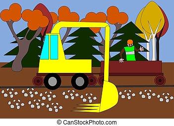 Excavator regulates the terrain around the track