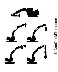 excavator silhouette - excavator with various attachments