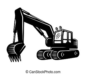 Excavator silhouette vector black object or design element isolated on white background